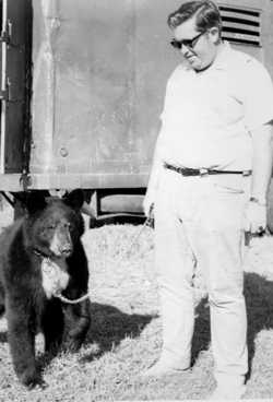 Bobby Gibbs with Bubbles the bear